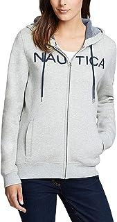 Nautica 诺帝卡女式标志全拉链连帽运动衫夹克