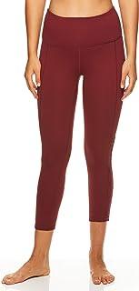 Gaiam 女式 Om 高腰瑜伽 Capri 性能氨纶压缩紧身裤