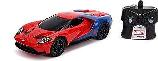 JADA Toys Marvel 蜘蛛侠 2017 福特 GT R/C,1:16 比例带 USB 充电,2.4Ghz 和涡轮增压,红色和蓝色