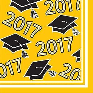 Creative converting 360支 CLASS OF 2017纸餐巾纸适用于毕业派对 School Bus Yellow