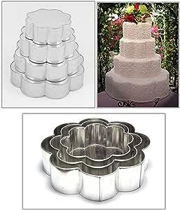 EURO TINS 专业 4 层花瓣多层结婚纪念日蛋糕烘焙盘15.24cm 20.32cm 25.40cm 30.48cm