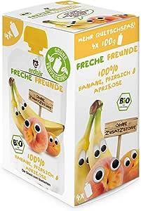 """Freche Freunde Bio Quetschie Vorteilspack """"100% Banane, Pfirsich & Aprikose"""" 4er Pack (4 x 400 g)"""