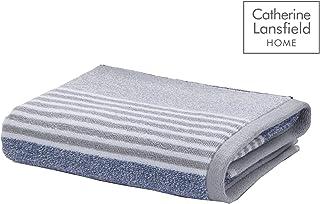 Catherine Lansfield 纹理条纹浴巾,蓝色