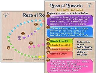 """Cómo rezar el Rosario, Carteles para el Aula - 2 carteles 12"""" x 18"""" con 5 tarjetas de bolsillo)"""