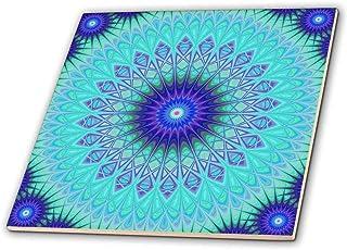 3dRose David Zydd - 星星曼达拉斯 - 冰雪奇缘曼荼罗 - 蓝色抽象设计 - 瓷砖 8英寸 ct_280109_3