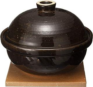长谷制陶(Nagatani Seitou)土锅 黑色 1200毫升长谷园 熏制器 素雅银 小 NCT-43