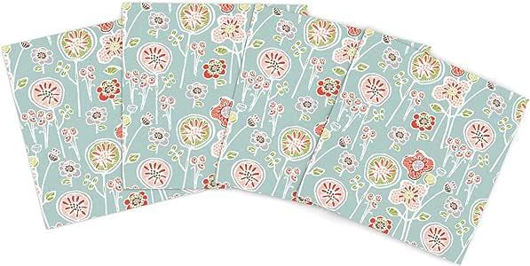 Kess InHouse Gill Eggleston Folky Floral Light Jade 蓝色青色户外垫子,38.1 x 38.1 cm,4 件套