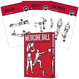 药球练习卡,62 件套:适用于高强度家庭或健身房锻炼:50 个锻炼,适用于所有健身水平:超大 8.89 x 12.7 厘米,防水耐用,带图和说明