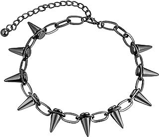 FJ 嘻哈黑色铆钉项链,轻质空心合金,趣味珠宝