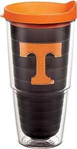 Tervis Tennessee University Emblem Individual 玻璃杯,带橙色盖 Quartz 24-Ounce UNIVTENN