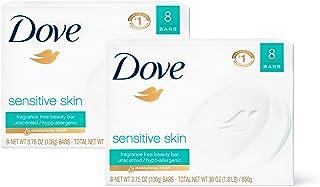 Dove 多芬 香皂,轻柔地清洁和滋养敏感肌肤,有效地洗净脏东西,3.75盎司,850克,16个