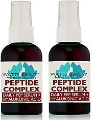 Watts Beauty Peptide 紧致皱胶原蛋白助推器带透明质酸,L - 精氨*和Potent Peptides - 美国制造 2-2oz Pumps