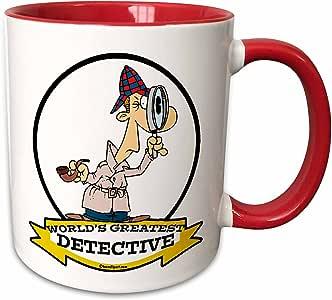 3drose dooni Designs worlds greatest 漫画–趣味 worlds greatest detective II 卡通–马克杯 红/白色 11-oz Two-Tone Red Mug