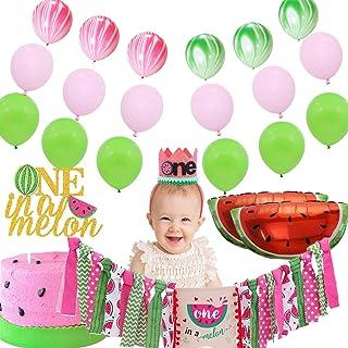 西瓜派对用品 - 1 岁生日派对装饰包,包括 1 个生日西瓜高脚椅横幅,1 个西瓜铅笔,1 个甜瓜蛋糕顶饰,12 个乳胶气球,6 个大理石气球,2 个西瓜铝箔气球,非常适合男孩和女孩 1 岁生日