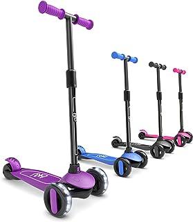 6KU 3 轮踏板车适合儿童和学步女孩和男孩,可调节高度,采用超宽 PU LED 闪光轮,适合 2 至 5 岁儿童。