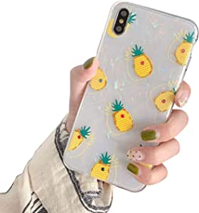 MC 时尚可爱闪耀水钻菠萝蛋白石硬壳保护透明边框苹果手机壳 iPhone 6 / 6s Small Pineapples