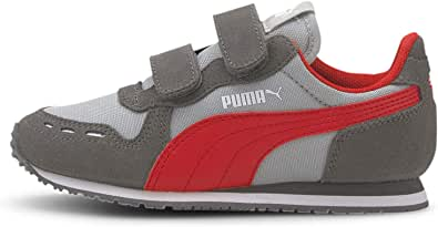 PUMA 彪马儿童 Cabana Racer Velcro 魔术贴运动鞋 High Rise-castlerock-high Risk Red 1 Little Kid