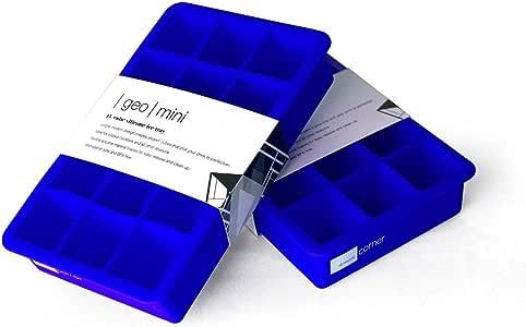 Domestic Corner - 硅胶冰块制作机和托盘 - 制作 15 个冰块 - 2 件套 蓝色 1.50 x 4.60 x 7.40 inches DC-10
