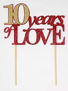 All About Details 10 Years of Love 蛋糕装饰、1 件、10 周年纪念日、中心装饰、照片道具、闪光装饰 红色和金色 CAT10YL