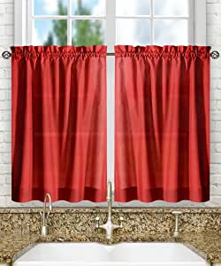"""Ellis Curtain Stacey Tailored Tier Pair Curtains, 56"""" x 24"""", Red"""