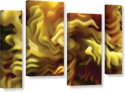 ArtWall Dean Uhlinger 4 Piece Pasta Wave Gallery-Wrapped Canvas Staggered Set, 24 by 36""