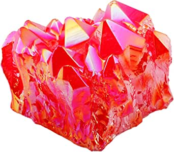 "SUNYIK 钛涂层水晶群集,石英 Druzy Point,宝石球形雕像标本 Red(1""-2"") SUNVS172"