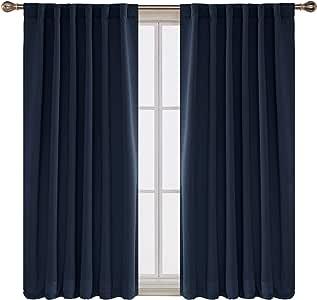 deconovo 纯色后背 TAB 和鱼竿袋黑色窗帘2panels-new