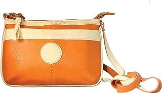Sanis Enterprises 橙色收纳包 斜挎包 Nicole 手提包 橙色/米色饰边,19.05 cm 高 x 24.13 cm 长 x 2.54 cm 宽