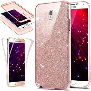 Galaxy Note 3 手机壳,ikasus [全身 360 覆盖保护] 水晶透明超薄防刮正面 + 背面全覆盖柔软透明 TPU 硅胶保护套,适用于 Galaxy Note 3 Glitter:Rose Gold