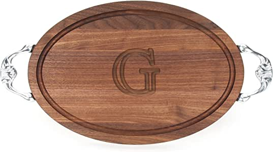 "CHUBBCO W410-VC-G Oval Cutting Board with Our Victorian Handle in Cast Aluminum, 12-Inch by 18-Inch by 1-Inch, Monogrammed ""G"", Walnut"