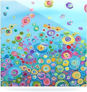 Kess InHouse Catherine Holcombe Inner Circle 蓝色铝浮动艺术板,20.32 x 20.32 cm