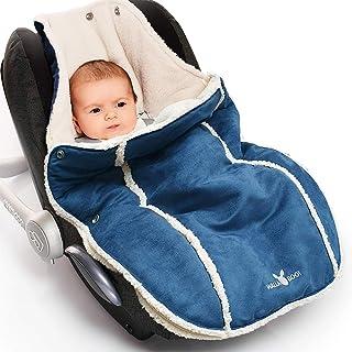 Wallaboo Footmuff 软绒面革和羊毛衬里,可回收聚酯,通用型,适合0 至 12 个月儿童,适合任何婴儿车和慢跑者,婴儿睡袋适用于汽车座椅,颜色:蓝色