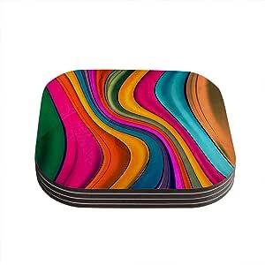 """Kess InHouse Danny Ivan """"Lov Color"""" Coasters, 4 by 4-Inch, Multicolor, Set of 4"""