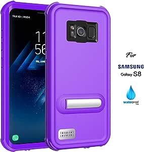 ASAKUKI 三星 Galaxy S8 手机壳,带屏幕保护膜,全机身手机壳,防水IP68 防震防尘适用于三星 Galaxy S8ASKS8-PP 标准 Purple Case for Samsung Galaxy S8