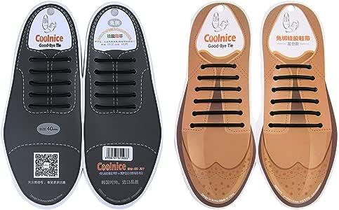 Coolnice 无系带鞋带 男女皆宜硅胶弹性打蜡细牛津圆形鞋带 适合礼服和皮革鞋 黑色+黑色 KL0748BLBL-US