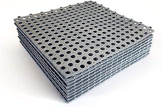 """VINTEK 瓷砖 103 联锁乙烯基 PVC 排水地板瓷砖垫防滑游泳池淋浴储物柜浴室甲板露台船 SPA 湿地垫内/外 Pack of 9 Tiles - 12"""" x 12"""" 灰色 Tile 103"""