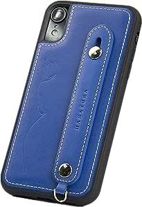 【HANATORA】 iPhone8 / iPhone7 对应 真皮 硬壳 防掉落 皮带 意大利皮革 手工制作 女士 男士 礼物 礼品 手工制作 时尚 成人 苹果手机 盖GH-XR-Blue iPhoneXR 蓝色