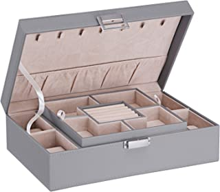 BEWISHOME 珠宝盒收纳盒带 4 个手表盒,可拆卸托盘珠宝展示存储盒 - 7 个项链挂钩 - 天鹅绒衬里 - 耳环手镯女士女孩 - PU 皮 SSH07 灰色 SSH07H