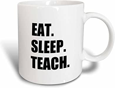 3dRose InspirationzStore 吃饭*系列 - 吃饭*教学 - 有趣的学校老师礼物 - 教学工作黑色文字 - 马克杯 黑色 15盎司 mug_180448_2