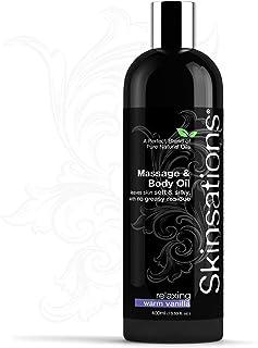 Skinsations 感官按摩油 – 美味可食混合物,情趣和芳香温暖香草身体油和皮肤* – 甜杏仁、葡萄籽油、荷巴和有机分裂椰子油