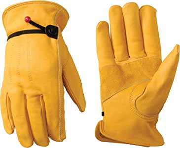 Leather Work Gloves with Ball and Tape Wrist Closure, Grain Cowhide, XX Large (Wells Lamont 1132XX)