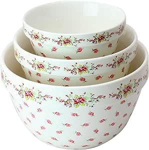 Grace Teaware 出品的 Pantry Size 3 件嵌套瓷器混合碗套装。 可用于微波炉,冷冻。 3 种尺寸 42,22 和 10 盎司。 复古玫瑰