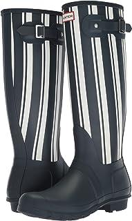 Hunter 女式原创花园条纹高筒雨靴 *蓝/白色 6 M US