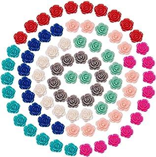 SUNNYCLUE 1 盒 80 件花卉玫瑰宝石树脂花史莱姆挂坠混合颜色平背凸圆形花卉装饰挂坠用于 DIY 剪贴簿珠宝制作用品工艺品