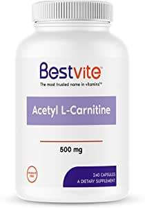 Acetyl L-Carnitine 500mg (240 Capsules) Containing 18% more pure Acetyl L-Carnitine than Acetyl L-Carnitine HCL products, No Fillers, No Stearates