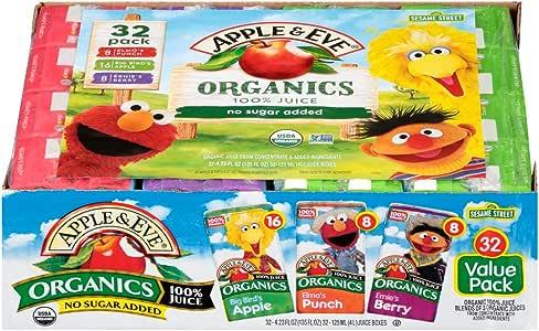 Apple & Eve Sesame Street Organics Juice Box Variety Pack, 4.23 Ounce,32 Count