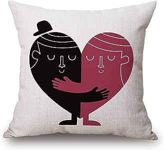 jes & MEDIS 棉亚麻装饰抱枕套靠垫,45.7x 45.7cm