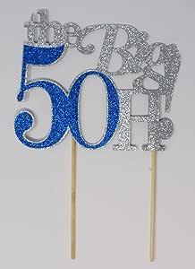 All About Details The Big 5OH! 蛋糕装饰,1 件,50 岁生日蛋糕装饰,50 周年纪念蛋糕装饰,50 周年装饰 银色和蓝色 CATTB5O