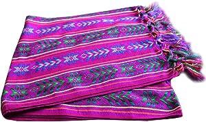 Del 墨西哥编织牛仔风格墨西哥桌巾围巾 电动 紫色 小号