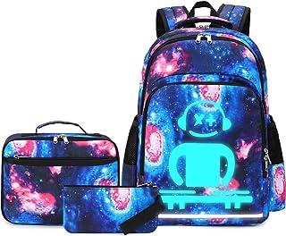 CAMTOP 学校背包 女孩 青少年 书包 套装 可爱 儿童 背包 3合1 书包 + 午餐盒 + 铅笔盒 Y087-galaxy One_Size